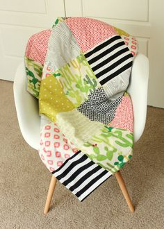 Modern Green, Coral, Black and White Cactus Aztec Baby Quilt