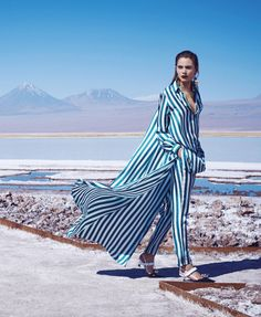 """Stripes"" Romy Schonberger by Nathaniel Goldberg for Harper's Bazaar US March 2016"