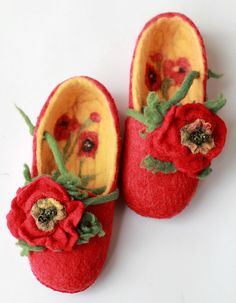 warm hand felted red women slippers with felted flowers poppies