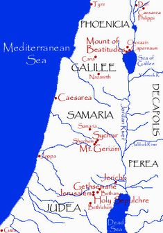 Map of the provinces of Galilee, Samaria and Judea at the time of Jesus Christ