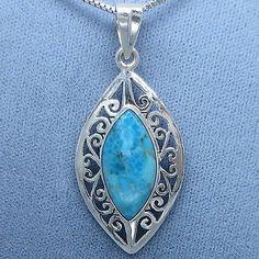 Arizona Turquoise Jali Filigree Pendant Necklace - Free Shipping