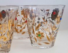 Vintage Culver drinking glasses - similar to the Culver Jester glasses, these have a beautiful floral and butterfly pattern.