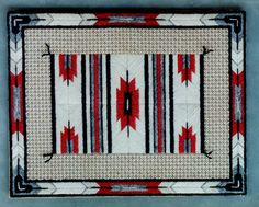 Red Arrow Blanket on canvas. Size is Design by Laura J. Red Arrow, Needlepoint, Needlework, Embroidery Designs, Knitting Patterns, Cross Stitch, Textiles, Quilts, Blanket