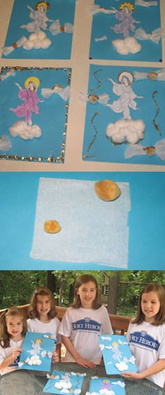 Assumption craft - print coloring page and color Mary, cut out and glue to center of sky blue paper, glue cotton balls for clouds, tissue paper cherub wings with pom-pom heads, glitter glue for halos