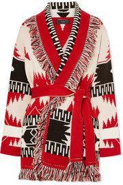 AlanuiFringed jacquard-knit cashmere cardigan
