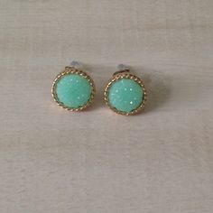 Aqua druzy studs earrings Not quite as bumpy as druzy.  Sensitive ear safe.  About 1/4 inch wide. Jewelry