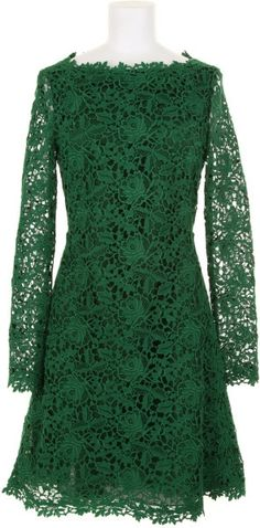 Valentino Green Long Sleeve Dress