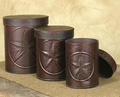 Crackle Black and Red Western Star Canisters, Set of 3 - Kitchen & Dining - Food Storage - Food Storage Containers TREY'S ROOM