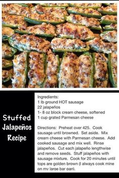 Stuffed Jalapenos Recipe…these were sooooo good! Stuffed Jalapenos Recipe…these were sooooo good! Yummy Appetizers, Appetizers For Party, Appetizer Recipes, Halloween Appetizers, Hot Sausage, How To Cook Sausage, Stuffed Jalapeno Peppers, Sausage Stuffed Jalapenos, Jalapeno Poppers