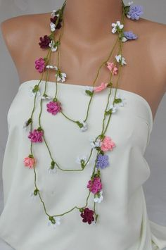 Hand Crocheted  Floral  Scarf Necklace by kirevi on Etsy, $69.00