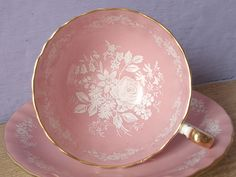 Antique pink tea cup and saucer set, vintage 1950's Aynsley bone china tea set, English tea cup, white rose cup