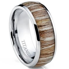 Titanium Ring Wedding Band, Engagement Ring with Real Wood Inlay, 8mm Comfort Fit Sizes 7 to 13 - http://www.jewelryfashionlife.com/titanium-ring-wedding-band-engagement-ring-with-real-wood-inlay-8mm-comfort-fit-sizes-7-to-13/
