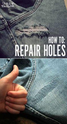 DIY Hacks for Ruined Clothes. Awesome Ideas, Tips and Tricks for Repairing Clothes and Removing Stains in Clothing   An Easy Way to Fix Holes in Your Jeans and Other Garments   http://diyjoy.com/diy-hacks-for-fixing-ruined-clothes