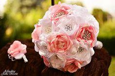jone228 / Šperková svadobná látková kytica bielo-ružová