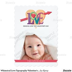 Whimsical Love Typography Valentine's Day Photo 5x7 Paper Invitation Card