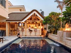 Luxurious Outdoor Living at Home - Cape Reed The overwhelming need to entertain and relax in the com Living Pool, Living At Home, Outdoor Living, Living Spaces, Swimming Pools Backyard, Swimming Pool Designs, Modern Gazebo, Rectangular Pool, Pool Waterfall