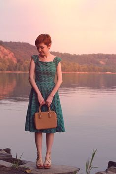 Rebecca wearing the Kettle Corn Dress in Green Boats. #modcloth - what a cute dress! I could see myself riding the rails in this one. :)