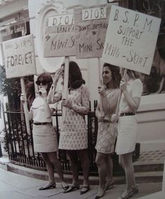 Women protesting for Dior skirts