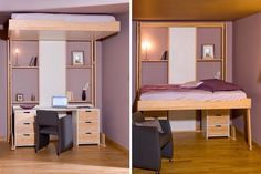 Creative Hidden Bed Design - Hint, its on the ceiling. Condo Interior Design, Small Apartment Interior, Small Space Living, Small Spaces, Home Furniture, Furniture Design, Hideaway Bed, Space Saving Beds, Smart Bed