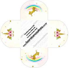 Girl Birthday Themes, Kids Party Themes, Unicorn Birthday Parties, Unicorn Party, Birthday Party Decorations, Printable Box, Free Printables, Box Invitations, Baby Boy Cards