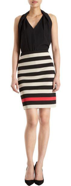 Diane von Furstenberg New Koto Double Knit Striped Skirt at Barneys.com