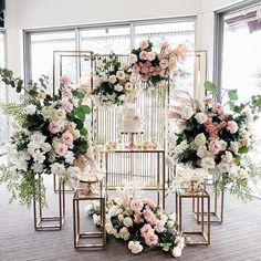 Dessert Table Decor, Table Decorations, Dessert Stand, Tall Floor Vases, Engagement Cakes, Geometric Flower, Backdrop Stand, Backdrop Decor, Flower Stands