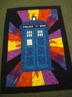 Dr Who Quilt created by one of the parents from my class – Quiltbox Quilting Tips, Quilting Projects, Quilting Designs, Sewing Projects, Quilting Stencils, Sewing Ideas, Doctor Who Quilt, Doctor Who Fan Art, Quilted Wall Hangings