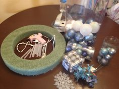 Frozen Inspired Ornament Wreath - I wanted to create a beautiful ornament wreath with blues and silvers to celebrate our Frozen Christmas! 14…