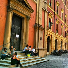 Lunch break in Bologna, Italy. Are they having pasta? :) - Instagram by @melvin