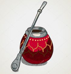 Decorated calabash for yerba mate drink. by kirate, via Shutterstock Yerba Mate, Mate Drink, Argentina Culture, Art Sketches, Design Art, Royalty Free Stock Photos, Illustration, Aesthetic Art, Tatoo