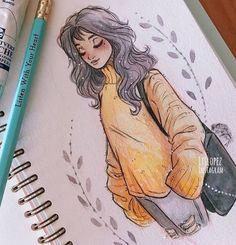 Itslopez art art, drawings e amazing drawings Art Drawings Sketches, Cute Drawings, Fall Drawings, Sketch Drawing, Profile Drawing, Hipster Drawings, Drawing Challenge, Manga Drawing, Pencil Drawings