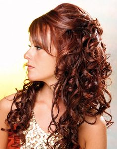 Long Curly Layered Half Up-do Wedding Hairstyles