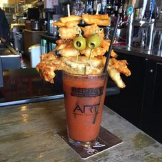 In the South we know how to satisfy every craving! | Crabby Bloody Mary | ART Burger Sushi Bar | Myrtle Beach | South Carolina | Photo via Instagram by @artburgersushibar |