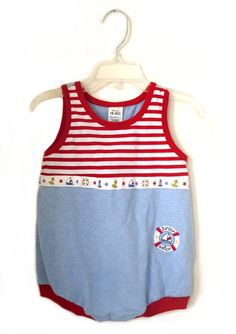 Junior Sailor  Vintage Baby Boy Romper  18 by TheSpeckledMushroom, $12.00
