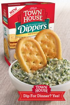 Town House Dippers are crackers designed to be dipped. More dipping, less breaking. Buttery and delicious. When dinnertime approaches and there's nothing in the fridge, there's no better time to break out a box of Town House® crackers and create endless possibilities with your favorite spinach artichoke dip … for dinner. Fall Recipes, Beef Recipes, Chicken Recipes, Vegan Recipes, Cooking Recipes, Artichoke Dip, Town House, Aesthetic Food, Appetizer Recipes