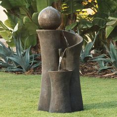 Minimalism and simple elegance give this energy-efficient LED outdoor fountain a soothing appeal that you'll love after a long day. Tranquility bubbler outdoor water fountain with light. Style # at Lamps Plus. Garden Water Fountains, Water Garden, Lawn And Garden, Outdoor Fountains, Concrete Fountains, Tabletop Fountain, Indoor Fountain, Rock Fountain, Top Fontes