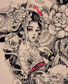 Geisha Tattoos, Geisha Tattoo Design, Japan Tattoo Design, Sketch Tattoo Design, Japanese Tattoo Designs, Japanese Tattoo Art, Tattoo Sketches, Tattoo Drawings, Body Art Tattoos