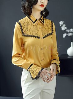 Shop Yellow Ruffle Sleeve Lapel Blouse at EZPOPSY. Unique Fashion, Diy Fashion, Korean Fashion, Fashion Outfits, Womens Fashion, Kurta Designs Women, Blouse Models, Fashion Sewing, Ao Dai