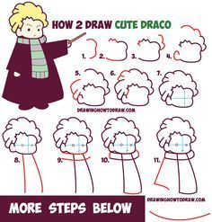 How to Draw Cute Draco Malfoy from Harry Potter (Chibi / Kawaii) Easy Step by…