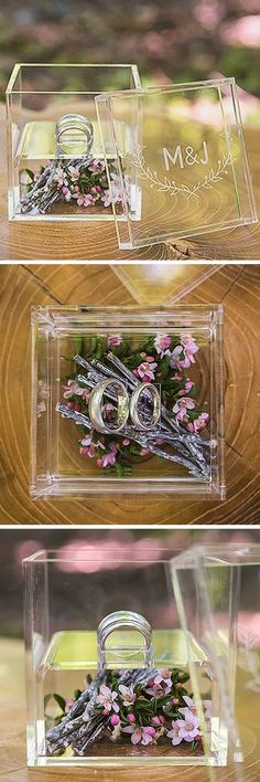 This unique bi-level acrylic ring box personalized with the bride and groom's initials is perfect for adding dainty miniature flowers, moss, or dried flower petals for an ethereal outdoor wedding ceremony. This ring box can be ordered at http://myweddingreceptionideas.com/woodland-pretty-personalized-acrylic-ring-box.asp