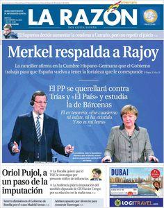 Los Titulares y Portadas de Noticias Destacadas Españolas del 5 de Febrero de 2013 del Diario La Razón ¿Que le parecio esta Portada de este Diario Español?