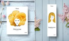 Beautiful Hairstyles shaped by Pasta Packaging  Russian agency Nikita has created a very eye-catching packaging for Pasta. Indeed each variety of pasta is turned into hairstyle and complete the woman look illustrated on the packaging. Spaghetti for elegant straight long hair fettuccine appear like bulky updo and cavatappi shape a super afro cut.       #xemtvhay