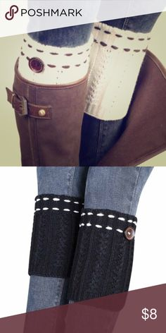 🎁Black/white boot cuffs with button New in package🎁 Black boot cuffs. Can be work with high boots or ankle boots (folded over). Very cute! Great gift! Please note this listing is for black, first picture only to show how to wear-white for sale in another listing! Shoes