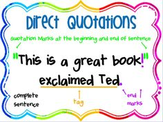 Common Core Classrooms: Activity to accompany a lesson on quotation marks. Grammar And Punctuation, Teaching Grammar, Spelling And Grammar, Teaching Language Arts, Teaching Writing, Teaching Ideas, Student Teaching, Teaching Materials, Teacher Resources