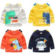 Dinosaur Sweater, Cute Dinosaur, Baby Shirts, Shirts For Girls, Kids Shirts, Toddler Outfits, Boy Outfits, Baby Cartoon, Kids Wear