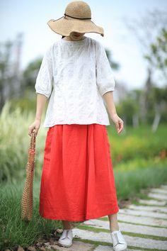 Beautiful Jacquard White Blouse Back Sashes Cotton Linen Clothing    #white #blouse #linen #clothing #top #amazing #boutique
