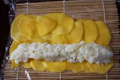 Thai Coconut Sticky Rice with Mango in Sushi Form Coconut Sticky Rice, Sticky Rice Recipes, Mango Sticky Rice, Thai Coconut, Canned Coconut Milk, Kitchen Recipes, Snack Recipes, Snacks, Thai Mango