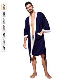 Men s Kimono Robe Cotton Waffle Spa Bathrobe Lightweight Soft Sleepwear  Size L  Bathrobe  Cotton 32f847a4d