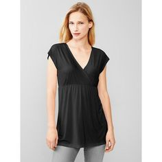 Gap Women Modal Crossover Nursing Top ($25) ❤ liked on Polyvore featuring tops, regular, true black, slimming tops, surplice top, ruched v neck top, black ruched top and gap tops