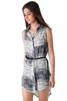 Black abstract shirt dress with belt - 36,90 € - https://q2shop.com/
